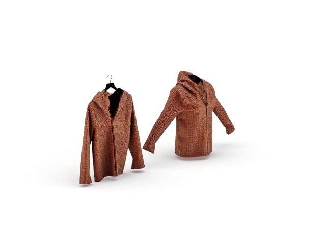 Ladies jacket with hood 3d rendering