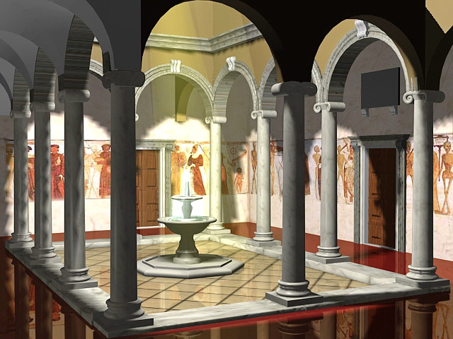 Indoor patio fountain 3d rendering