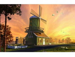 House with windmill 3d model preview