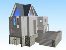 Modern house architecture 3d preview