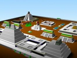 Futuristic architecture buildings 3d preview