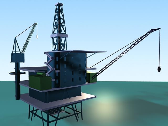 Offshore oil platform 3d rendering