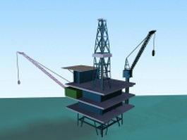 Offshore oil platform 3d model preview