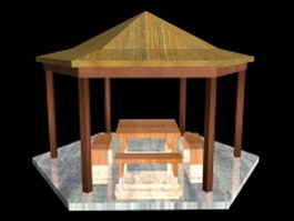 Wooden gazebo with table and benches 3d preview