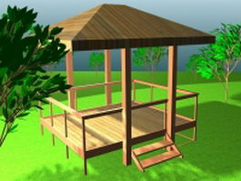 Garden gazebo and trees 3d preview