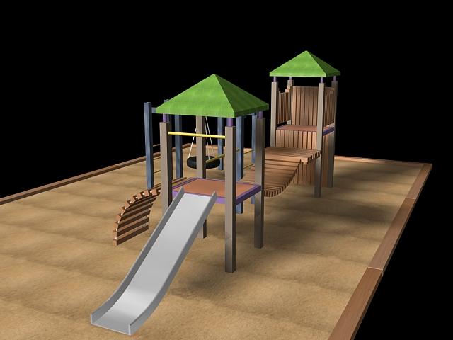 Playground equipment design 3d rendering