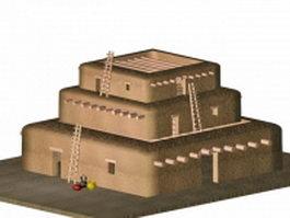 Pueblo Indian building 3d model preview