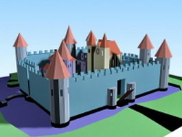 Cartoon medieval castle 3d preview