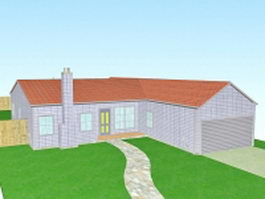 Country house with garage 3d preview