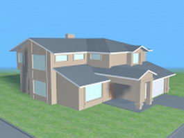 House building with garage 3d preview