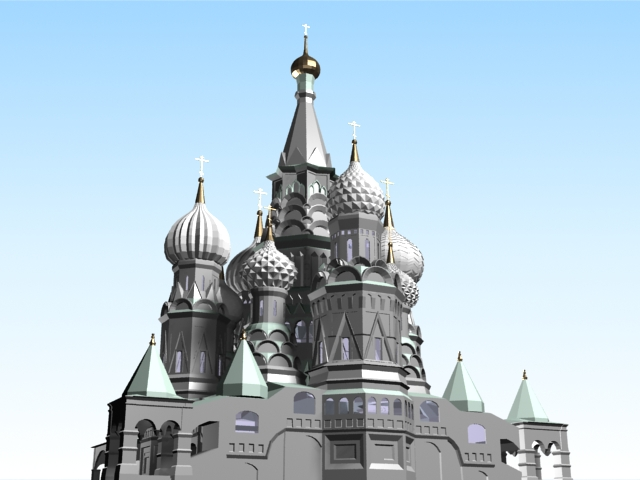Moscow Kremlin architecture 3d rendering