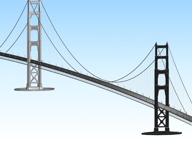 Golden gate bridge 3d rendering