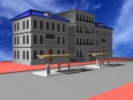 Apartment building and bus stop 3d preview