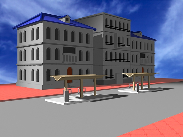 Apartment building and bus stop 3d rendering