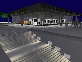Modern art gallery building 3d preview