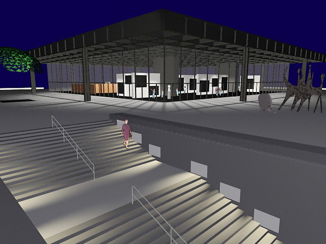 Modern art gallery building 3d rendering