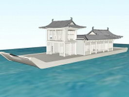 Chinese marble boat architecture 3d model preview