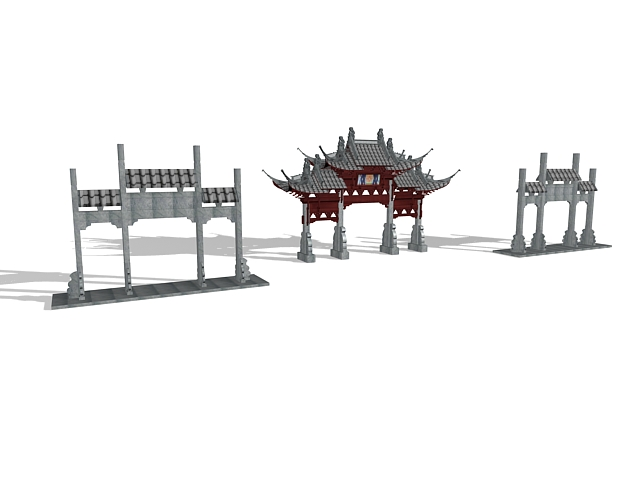 Decorated paifang 3d rendering