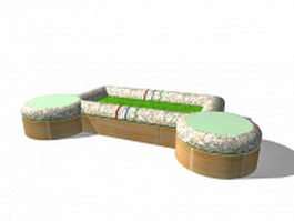 Planters with bench seating 3d preview