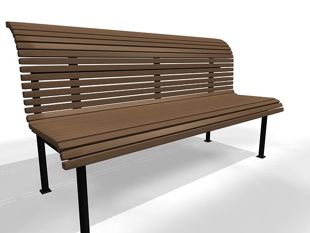 Outdoor park bench 3d rendering