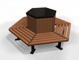 Hexagon shaped bench 3d model preview