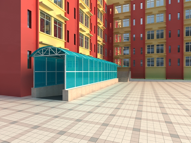 School building with glass shelter 3d rendering