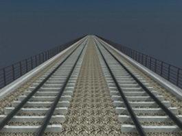 Double-track railway bridge 3d preview