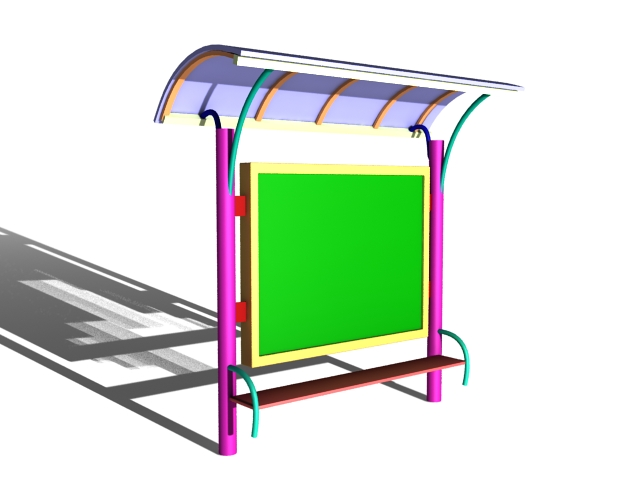 Bus stop with roof 3d rendering
