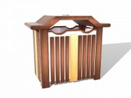 Wood recycle bin trash can 3d preview