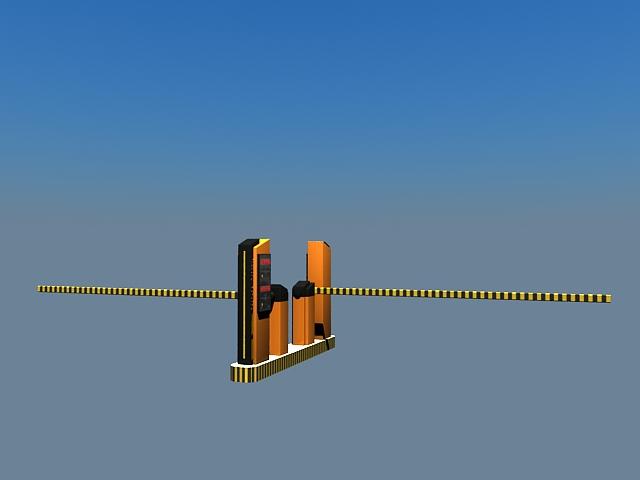 Parking lot gate system 3d rendering