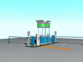 Parking lot gates access control 3d preview