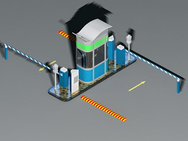 Parking lot gates access control 3d rendering