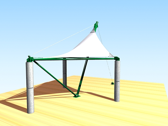 Patio shade sail 3d rendering