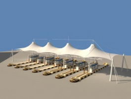 Toll collection area with tensile canopies 3d preview