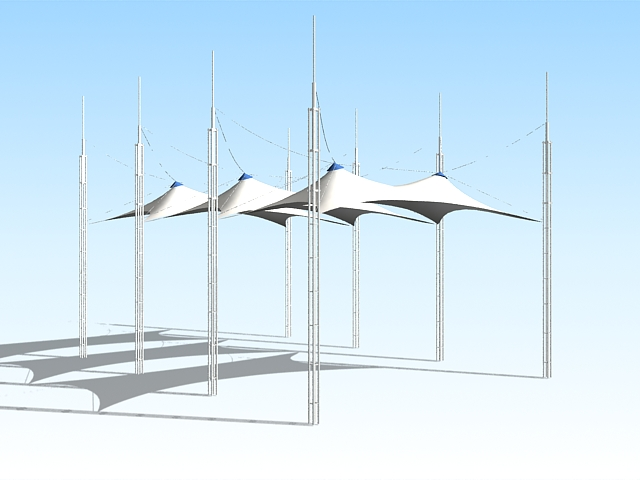 Tensile shade structures 3d rendering