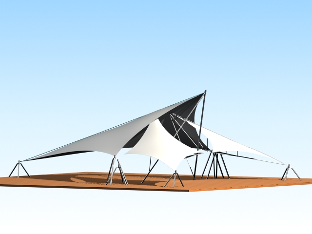 Tensile fabric structure 3d rendering