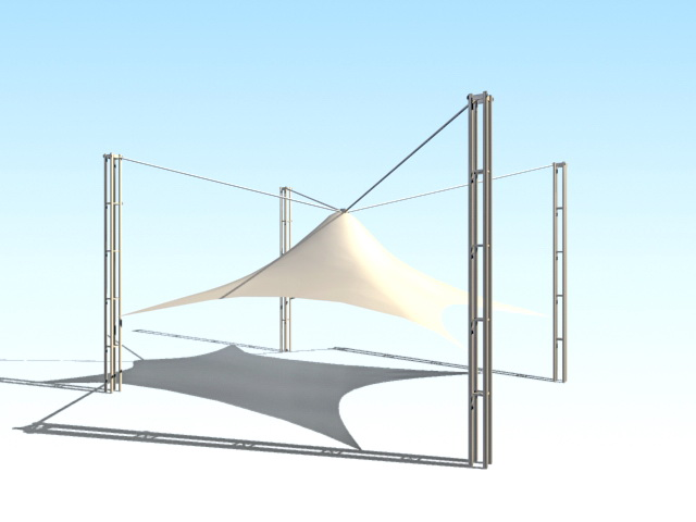 Tensile shade structure 3d rendering