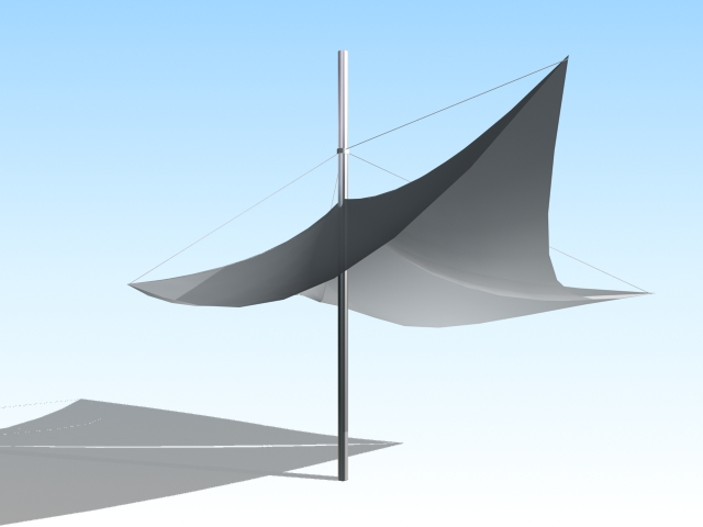 Tensile umbrella for garden 3d rendering
