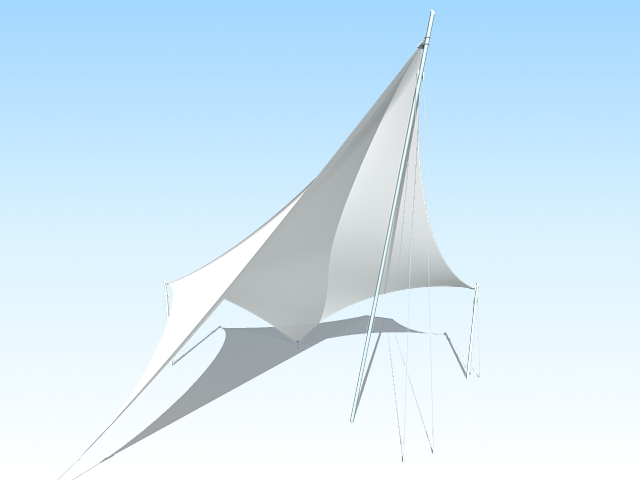 Tensile sun shade structure 3d rendering