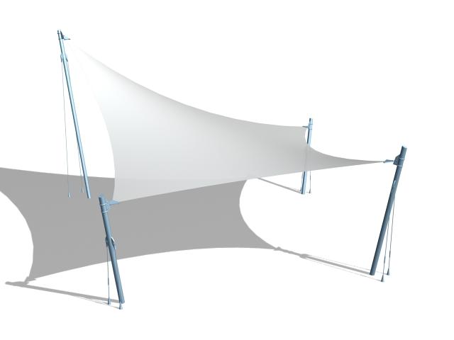 Beach shade canopy 3d rendering