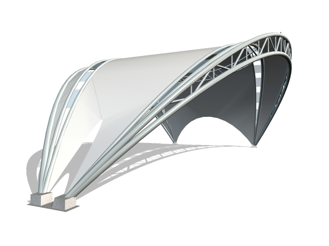 Arched tensile shade structure 3d rendering