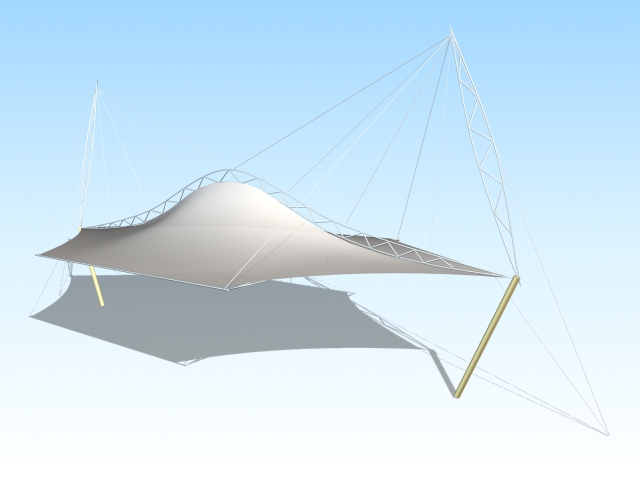 Tension shade structure 3d rendering