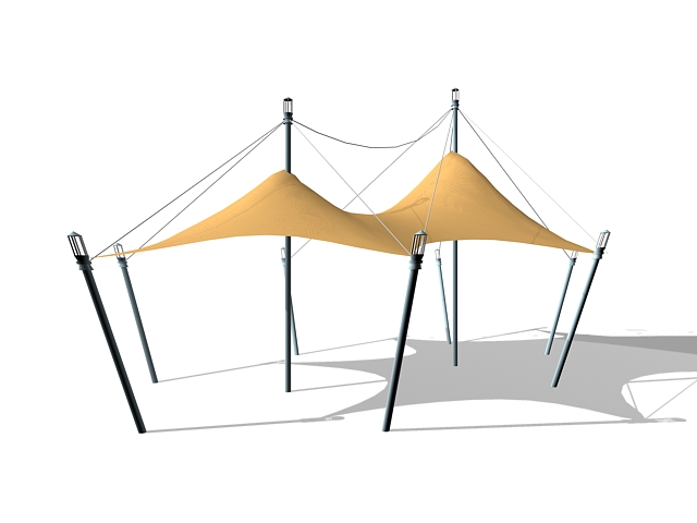 Tension fabric shade structures 3d rendering