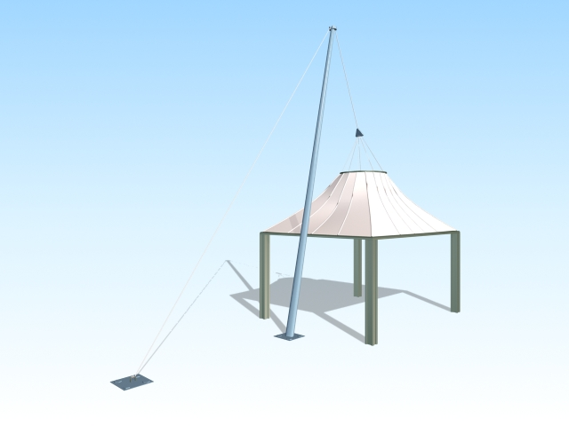 Sun shade structure 3d rendering