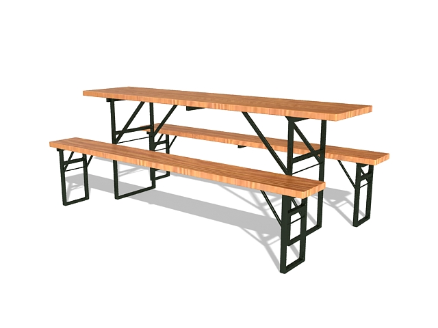 Picnic table with bench 3d rendering