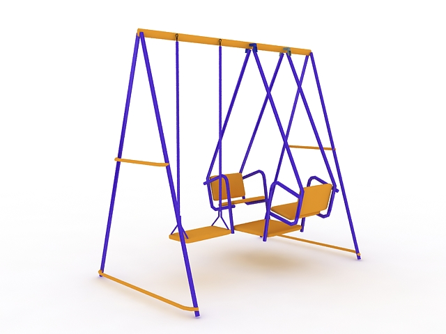 Metal swing set 3d rendering