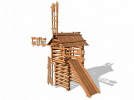 Wooden windmill playhouse 3d model preview