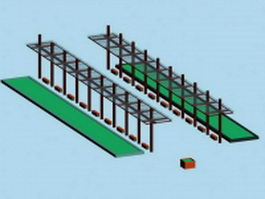 Glass pergola landscape structure 3d preview