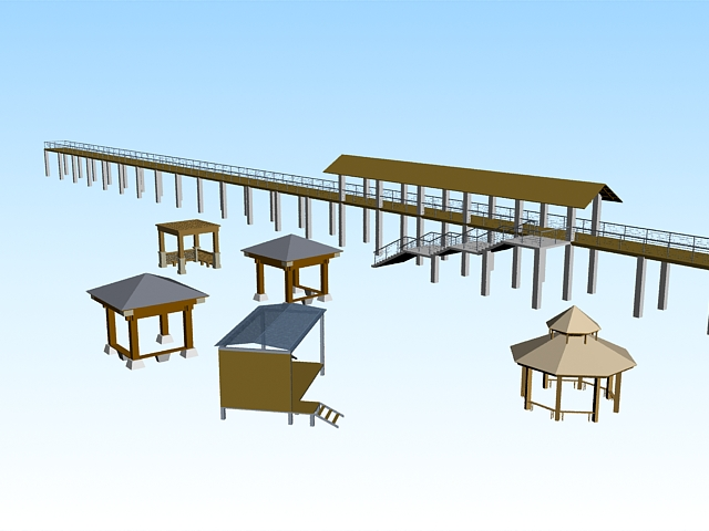 Park landscape architecture design 3d rendering