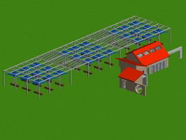 Landscape plaza canopy structure 3d model preview